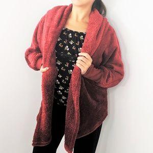 Cozy Red Parka Cardigan Sweater Medium